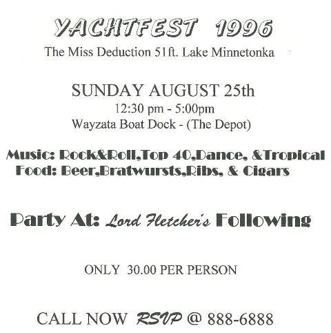 yacht fest lake minnetonka 1996 - Jay Shapiro, Carlo Macy, Gary Brendle, Big George Johnson